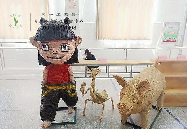 稻草工艺品参赛作品草雕哪吒造型