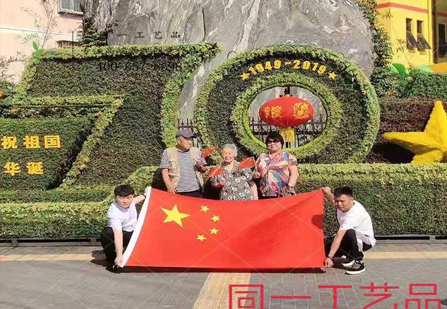 北京游客在植物vwin德赢娱乐官方平台国庆vwin德赢娱乐官方平台前举国旗合影