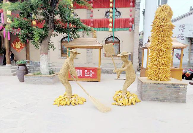 稻草工艺品人物劳作造型