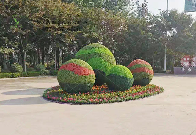 仿真绿雕球体组合立体花坛造型
